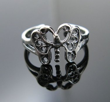 .925 Sterling Antiqued Style Freedom Butterfly Toe Ring