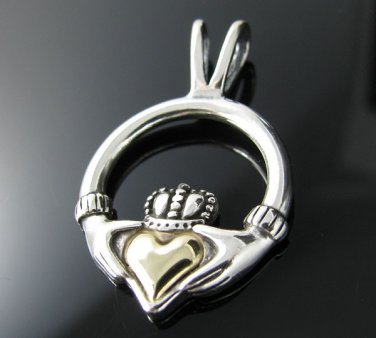 "14kt ""Heart of Gold""& .925 Silver Celtic Pendant"