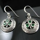 .925 Silver Celtic Knot Emerald Green Shamrock Earrings