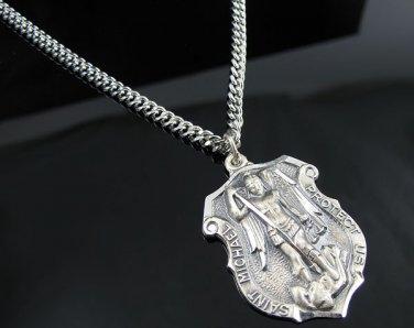 ".925 Sterling Silver St. Michael Pendant w/24"" Chain!"