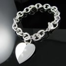 "7.5"" .925 Solid Sterling Silver Large Heart Bracelet"