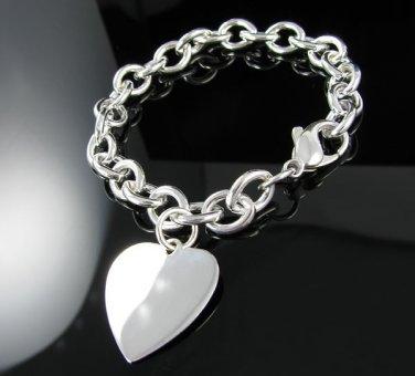 """7.5"""" .925 Solid Sterling Silver Large Heart Bracelet"""