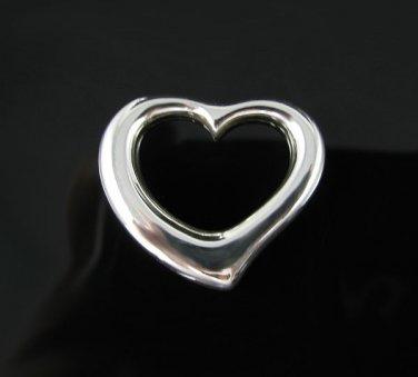 .925 Sterling Silver Med Floating Heart Pendant Charm!