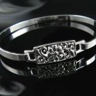 "7"" .925 Polished Silver Flower Design Bangle Bracelet !"