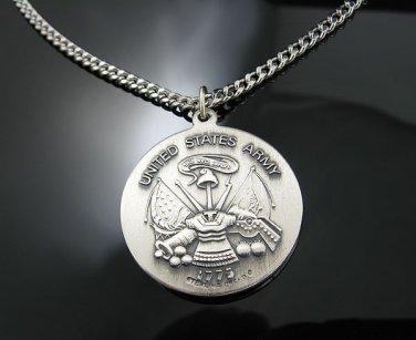 .925 Silver U.S. Army Saint Christopher Pendant w/Chain