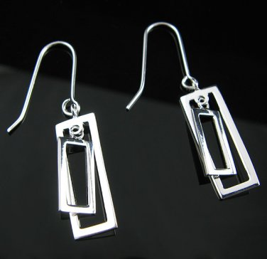 .925 Silver Double Cut Out Rectangle Dangle Earrings !
