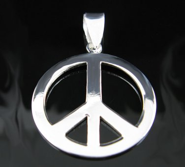 .925 Polished Solid Sterling Silver Peace Sign Pendant!