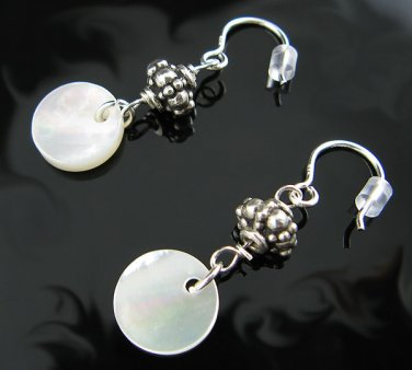 .925 Silver and Mother of Pearl Bali Design Earrings !