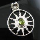 .925 Silver Peridot Cabochon Sun Design Slide Pendant !