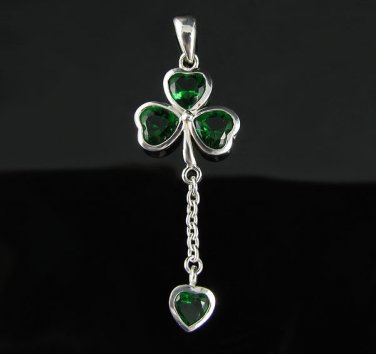 .925 Silver Emerald Green Shamrock and Heart Pendant