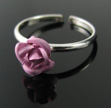 Genuine .925 Sterling Silver Pink Rose Flower Toe Ring