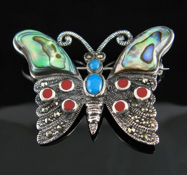 Marcasite, Mother of Pearl, Turquoise, and Coral Brooch
