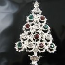 Silver Christmas Tree Pin w/Genuine Swarovski Crystals!