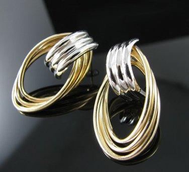 14k Yellow White Gold Triple Strand Dangle Earrings