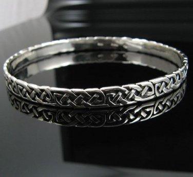 """8.0"""" .925 Sterling Silver Celtic Knot Cuff Bracelet NEW"""