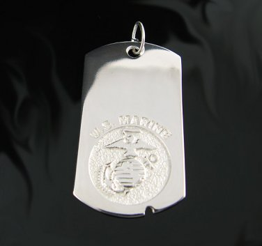 .925 Silver U.S. Marine Military Dog Tag Pendant - NEW!