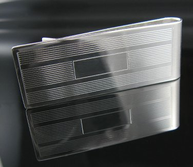 2.25 Inches Solid .925 Silver Sleek Lines Money Clip !!