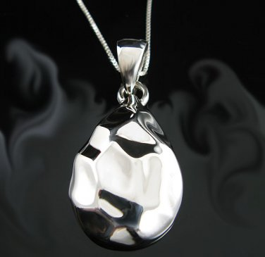 .925 Sterling Silver Hammered Design Pear Drop Pendant!