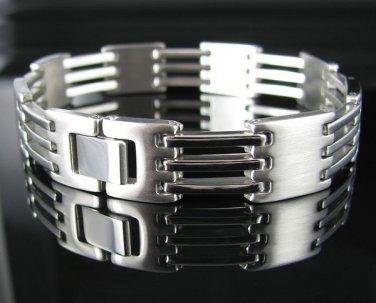 """Men's 8.5"""" Stainless Steel Alternating Links Bracelet"""