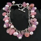 7 Inch .925 Silver Pearl and Crystal Toggle Bracelet