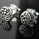 Silver .925 Antiqued Irish Celtic Knot Weave Earrings