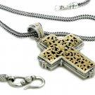 Gerochristo 5247 - Solid 18K Gold & Sterling Silver Byzantine Cross Pendant