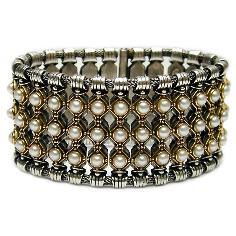 Gerochristo 6019 - Solid 18K Gold, Sterling Silver & Pearls Medieval Bracelet