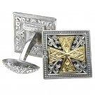 Gerochristo 7100 - Solid 18K Gold & Silver Medieval Cross Cufflinks