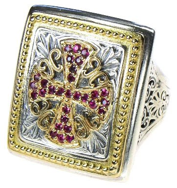 Gerochristo 2689-Solid Gold, Silver & Rubies Medieval Maltese Cross Ring/size 7
