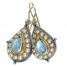Gerochristo 1196 - Gold, Silver, Aquamarine & Pearls Medieval-Byzantine Earrings