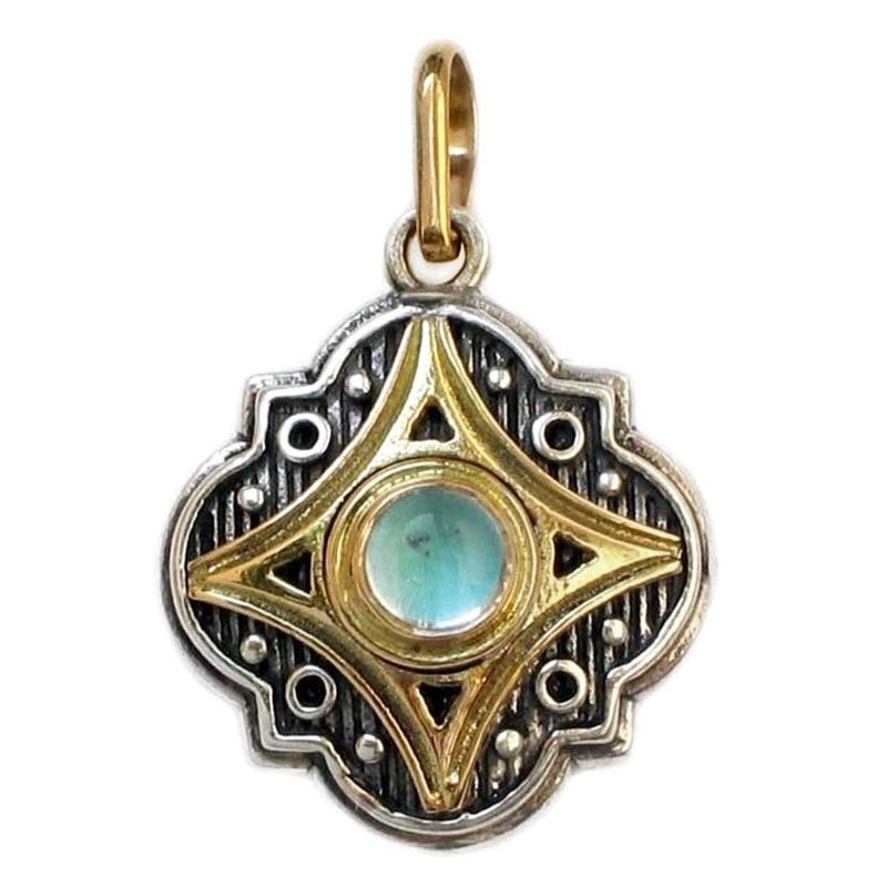 Gerochristo 1211 - Solid Gold, Silver & Aquamarine Medieval-Byzantine Pendant