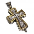 Gerochristo 5208 -Solid Gold & Silver Medieval-Byzantine Locket Cross Pendant