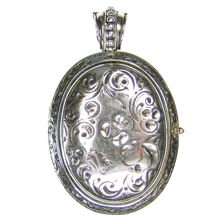 Gerochristo 3276 - Sterling Silver Engraved Oval Locket Pendant