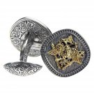 Gerochristo 7104 - Double Headed Eagle -Byzantine Gold & Silver Cufflinks