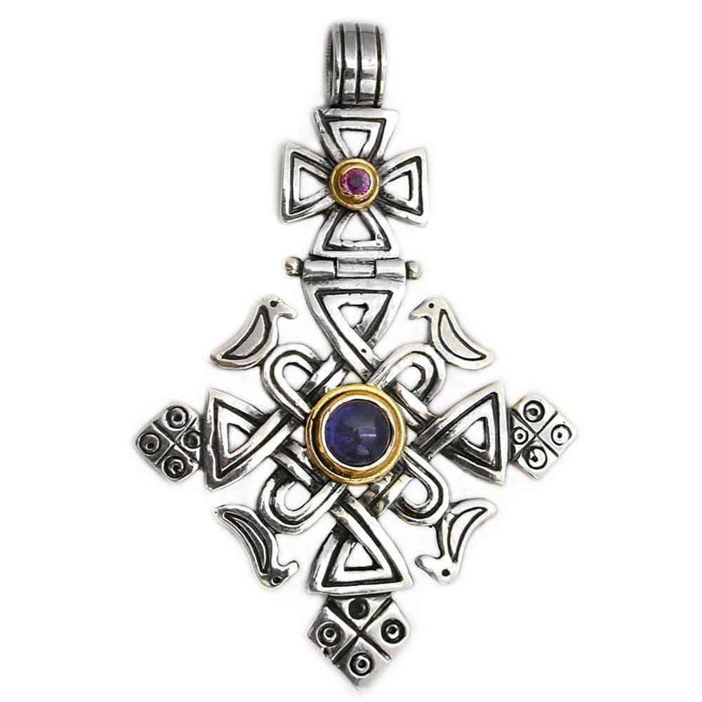 Gerochristo 5061 - Solid Gold, Silver, Iolite & Ruby Coptic Cross Pendant