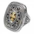Gerochristo 2626 - Solid Gold & Silver Medieval-Byzantine Cross Ring / size 7