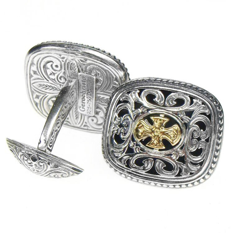 Gerochristo 7108 - Solid Gold & Silver Medieval-Byzantine Cross Cufflinks
