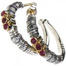 Gerochristo 1012 - Solid 18K Gold, Silver & Rubies Medieval-Byzantine Earrings