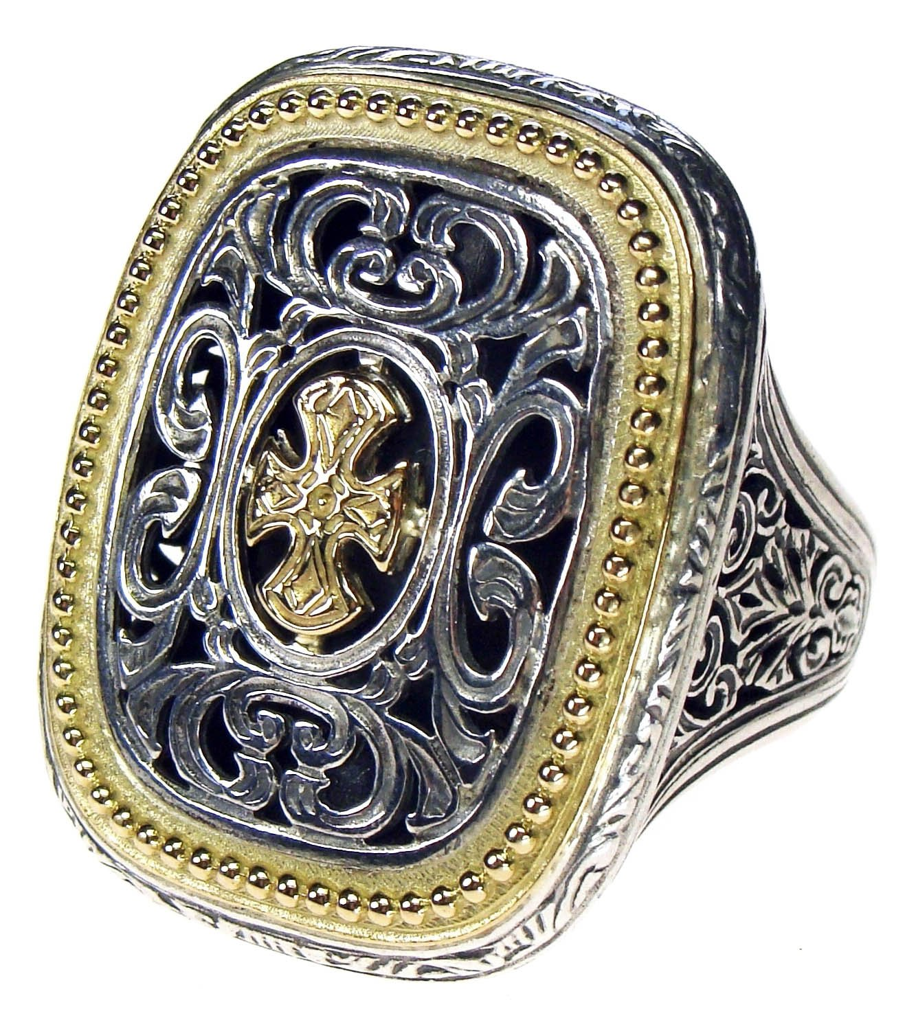 Gerochristo 2625- Maltese Cross- Solid 18K Gold & Silver Medieval Ring / size 7