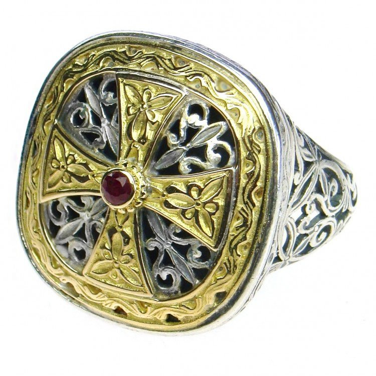 Gerochristo 2499 - Gold, Silver & Ruby -Medieval-Byzantine Cross Ring / size 7