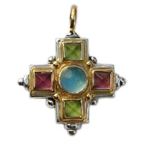 Gerochristo 5096 - Gold, Silver & Stones Medieval-Byzantine Cross Pendant