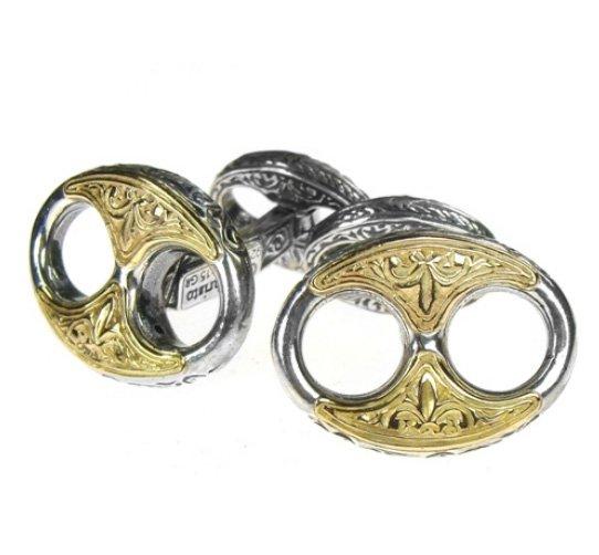 Gerochristo 7098 - Solid Gold & Sterling Silver Medieval Byzantine Cufflinks