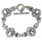 Gerochristo 6265 - Solid 18K Gold & Silver Medieval - Byzantine Link Bracelet