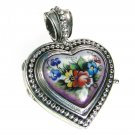 Gerochristo 3435 - Silver & Painted Porcelain Heart Locket Pendant - S