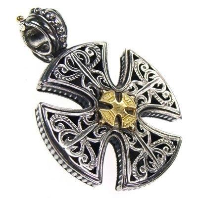 Gerochristo 5355 - Solid 18K Gold & Sterling Silver Maltese Cross Pendant