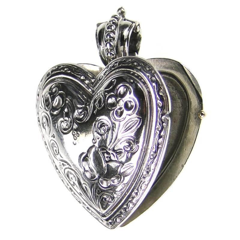 Gerochristo 3278 - Sterling Silver Engraved Heart Locket Pendant