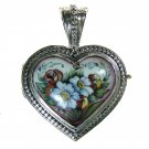 Gerochristo 3423 - Sterling Silver & Painted Porcelain Heart Locket Pendant -L