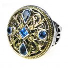 Gerochristo 2436 - Solid Gold, Silver & Topaz - Medieval-Byzantine Ring / size 7