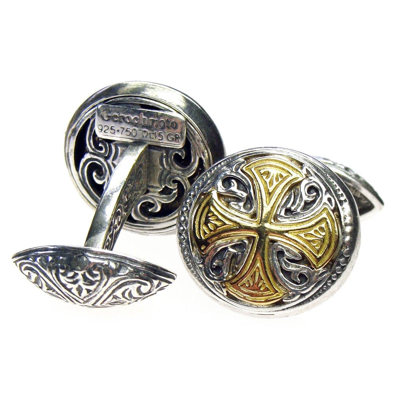 Gerochristo 7106 - Solid Gold & Silver Medieval-Byzantine Cross Cufflinks