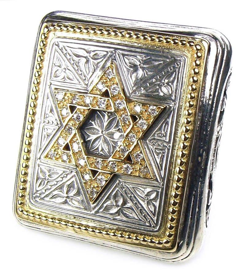 Gerochristo 2524 -Gold, Silver & Diamonds - Star of David - Large Ring / size 7